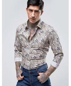 Devils Advocate   Rock Jungle Print Slim Fit Shirt