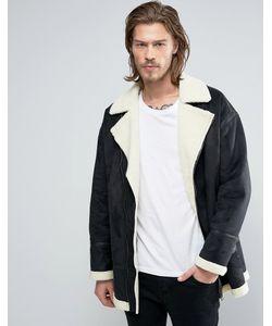 Asos | Черная Байкерская Куртка Из Искусственной Овечьей Шерсти
