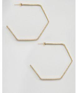 Made | Золотистые Серьги-Кольца В Форме Шестигранников