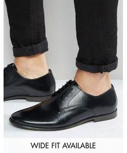 Asos | Черные Кожаные Туфли Дерби Доступна Модель Для Широкой Стопы