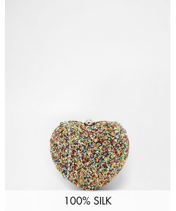 Moyna | Heart Clutch With Multicoloured Hand Beading