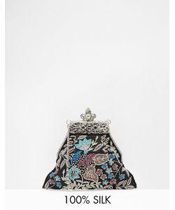 Moyna | Шелковый Клатч С Цветочной Вышивкой