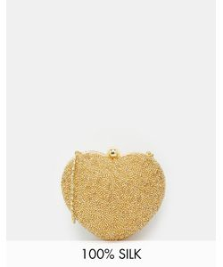 Moyna | Silk Heart Clutch Bag In Gold Beading