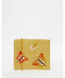 Moyna | Silk Gold Cross Body Bag With Butterfly Embroidery
