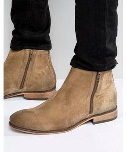 Asos | Песочные Замшевые Ботинки Челси С Двумя Молниями