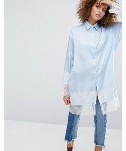 STYLE NANDA | Длинная Рубашка С Кружевным Низом Stylenanda