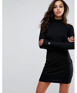 Versace Jeans | Платье С Жаккардовыми Вставками И Воротником-Стойкой