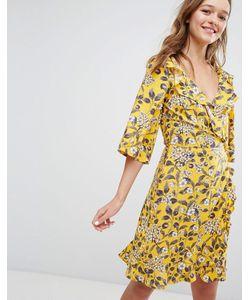 Monki | Платье С Запахом Оборками И Цветочным Принтом