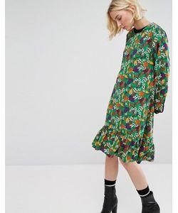 STYLE NANDA | Свободное Платье Миди С Асимметричным Краем И Цветочным Принтом Stylenanda
