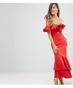 Jarlo Petite | Платье Макси Со Спущенными Плечами И Оборками