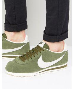 Nike | Кожаные Зеленые Кроссовки Cortez 861535-301