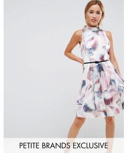 Little Mistress Petite | Короткое Приталенное Платье Для Выпускного С Высоким Воротом И Принтом Little