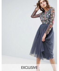 Needle & Thread | Платье Миди С Длинными Рукавами И Вышивкой Needle And Thread