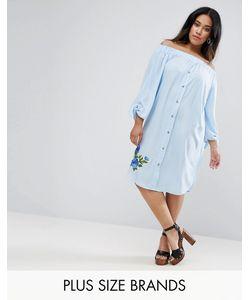 Boohoo Plus | Платье С Открытыми Плечами И Вышивкой