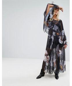 Religion | Многослойное Платье Макси С Цветочным Принтом И Завязками На Рукавах