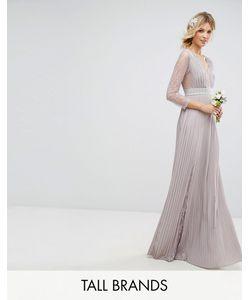 TFNC Tall | Плиссированное Платье Макси С Длинными Рукавами Кружевными Вставками И Отделкой На
