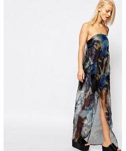 Suboo | Прозрачное Платье Макси Без Бретелей С Пальмовым Принтом