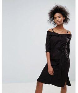 Neon Rose | Черное Хлопковое Платье С Открытыми Плечами