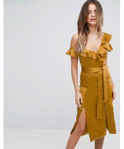 Lavish Alice   Асимметричное Атласное Платье Миди Золотистого Цвета С Оборками