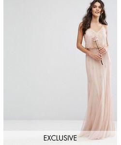 Amelia Rose | Платье Макси С Сетчатыми Вставками На Юбке И Отделкой