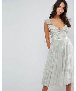 Needle & Thread | Платье Миди Из Тюля С Рукавами Рюшами Swan