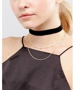 Asos | Ярусное Бархатное Ожерелье-Чокер С Цепочками