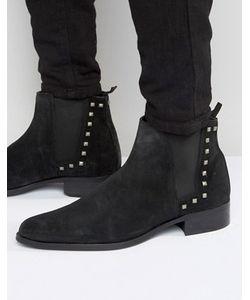 Asos | Черные Замшевые Ботинки Челси С Заклепками