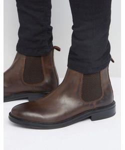 Asos | Коричневые Кожаные Ботинки Челси С Массивной Подошвой