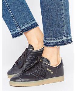Adidas | Черные Кожаные Кроссовки С Каучуковой Подошвой Originals Gazelle