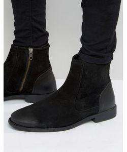 Asos | Черные Замшевые Ботинки Челси С Кожаным Задником