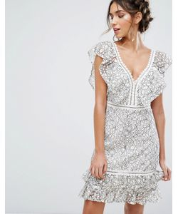 Endless Rose | Two Tone Lace Mini Dress With Frill Detail