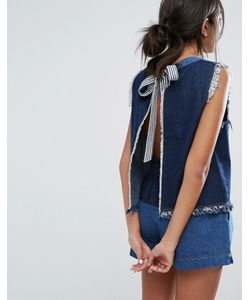 J.O.A | Open Back Denim Top With Raw Hems Co-Ord