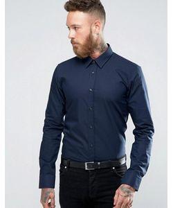 Hugo   Темно-Синяя Приталенная Рубашка By Boss