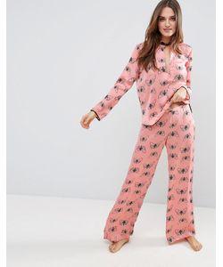 Asos | Атласные Пижамные Брюки С Бабочками Premium