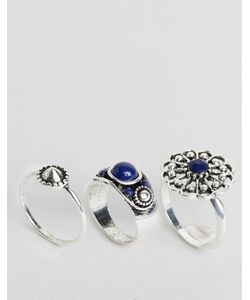 DesignB London | Designb 3 Pack Of Chunky Stone Rings