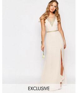 TFNC | Платье Макси С Отделкой Вдоль V-Образного Выреза Wedding