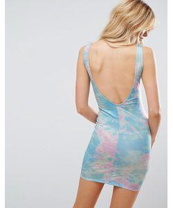 Asos | Облегающее Платье Мини С Глубоким Вырезом На Спине И Принтом Тай-Дай