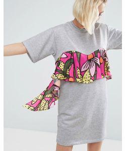 ASOS Made In Kenya   Трикотажное Платье-Футболка С Цветочным Принтом На Оборке