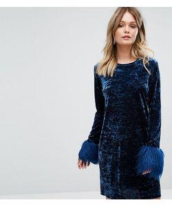 Anna Sui | Платье Мини Из Мятого Бархата С Искусственным Мехом На Манжетах Anna
