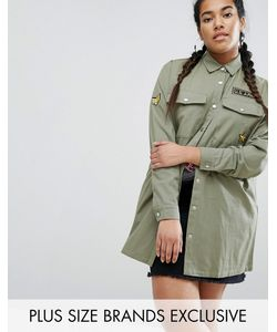 Daisy Street Plus | Military Embroide Shacket