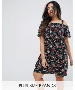 Yumi Plus | Платье С Цветочным Принтом И Вырезами На Плечах