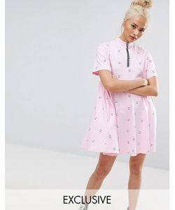 Lazy Oaf | Свободное Платье С Короткими Рукавами Принтом И Молнией