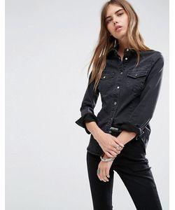 Asos   Черная Выбеленная Приталенная Джинсовая Рубашка В Стиле Вестерн