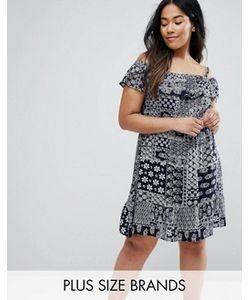 NVME   Платье С Открытыми Плечами И Оборками Plus