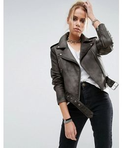 Asos | Кожаная Байкерская Куртка С Выбеленным Эффектом