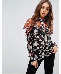 boohoo   Рубашка В Стиле Колор Блок С Цветочным Принтом