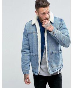 Asos | Синяя Джинсовая Куртка С Подкладкой Из Искусственного Меха От