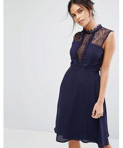 Elise Ryan | Платье Миди Без Рукавов С Контрастной Кружевной Отделкой