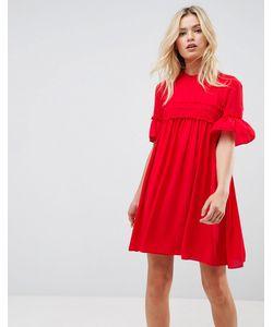 Asos | Свободное Платье Со Сборками