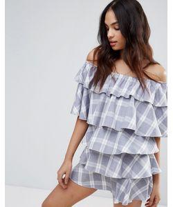 MISSGUIDED | Клетчатое Платье С Широким Вырезом И Оборками